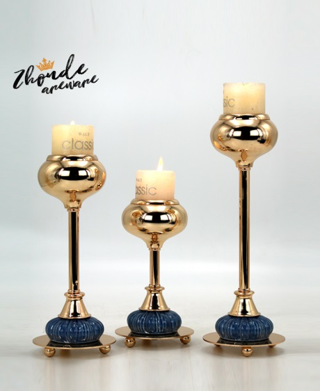 blue color ceramic and metal candle holder for decoration 90603