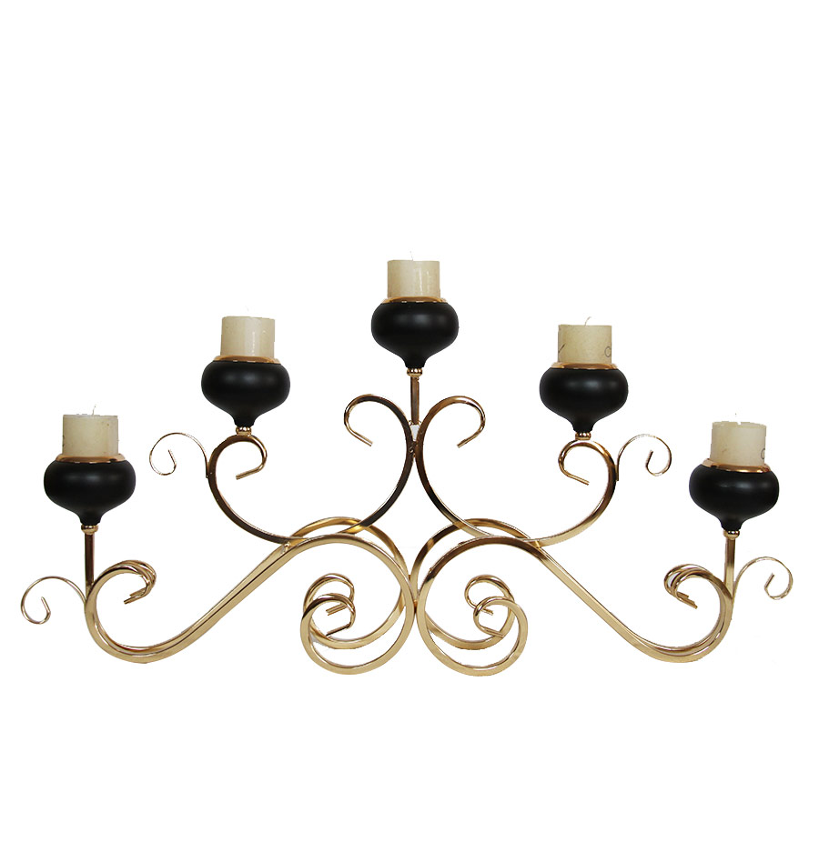 Iron Candle Holder Gold and Black Color 5506