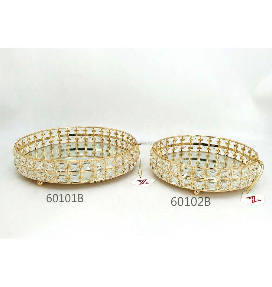 golden 60101B 60102B crystal metal tray