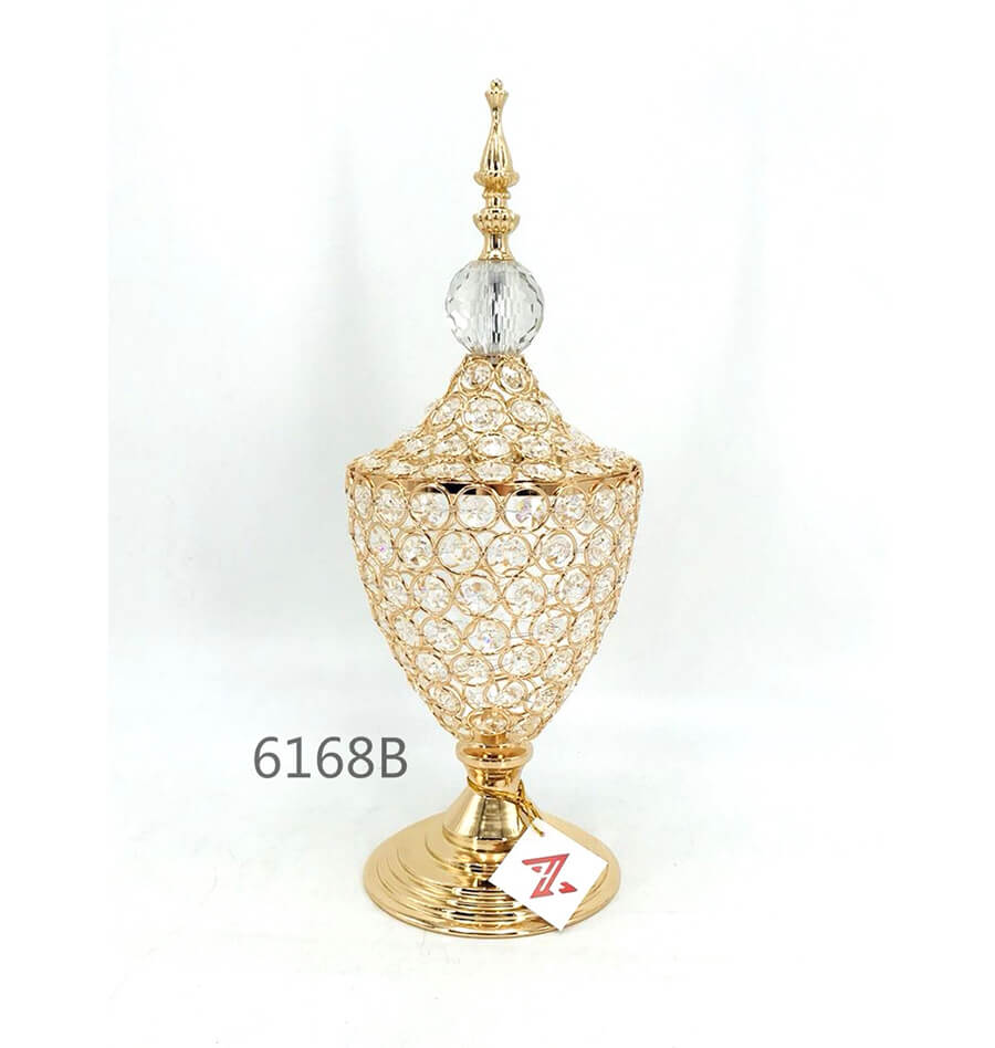 golden 6168B crystal metal candy pot