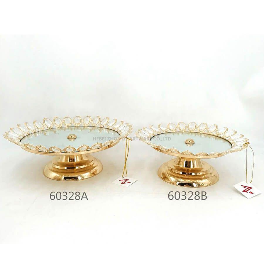 golden 60328A 60328B crystal metal tray