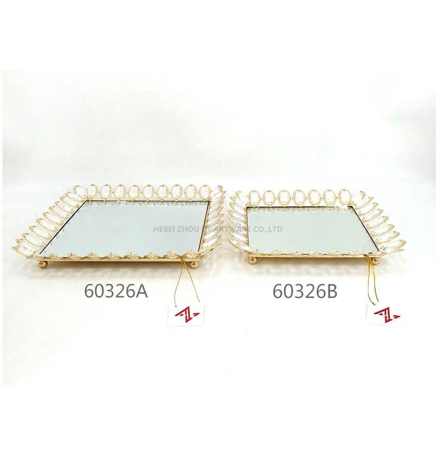 golden 60325A 60326B crystal metal tray6