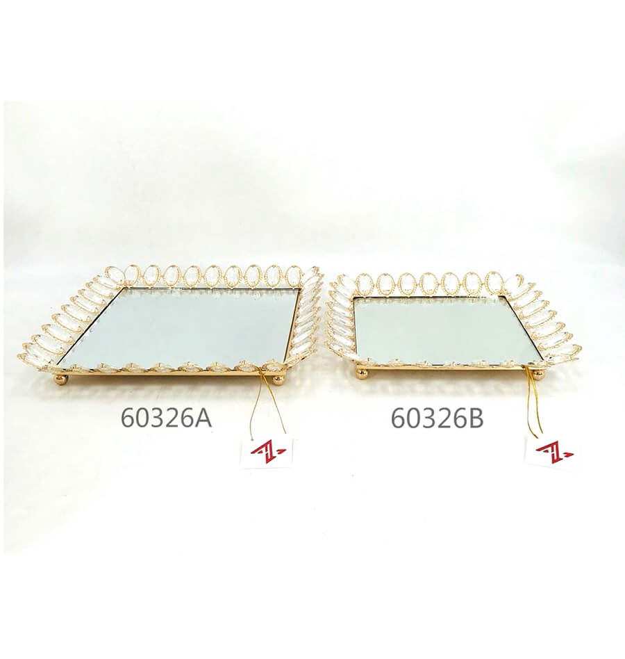 golden 60325A 60326B crystal metal tray6