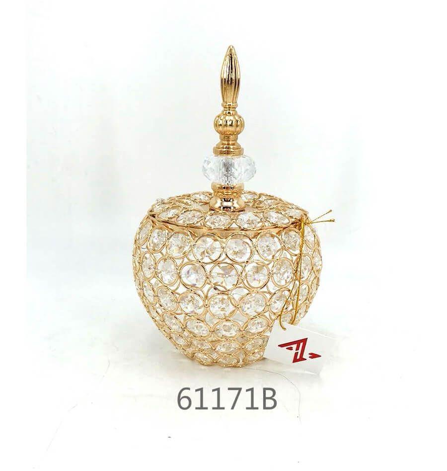 golden 61171B crystal metal candy pot