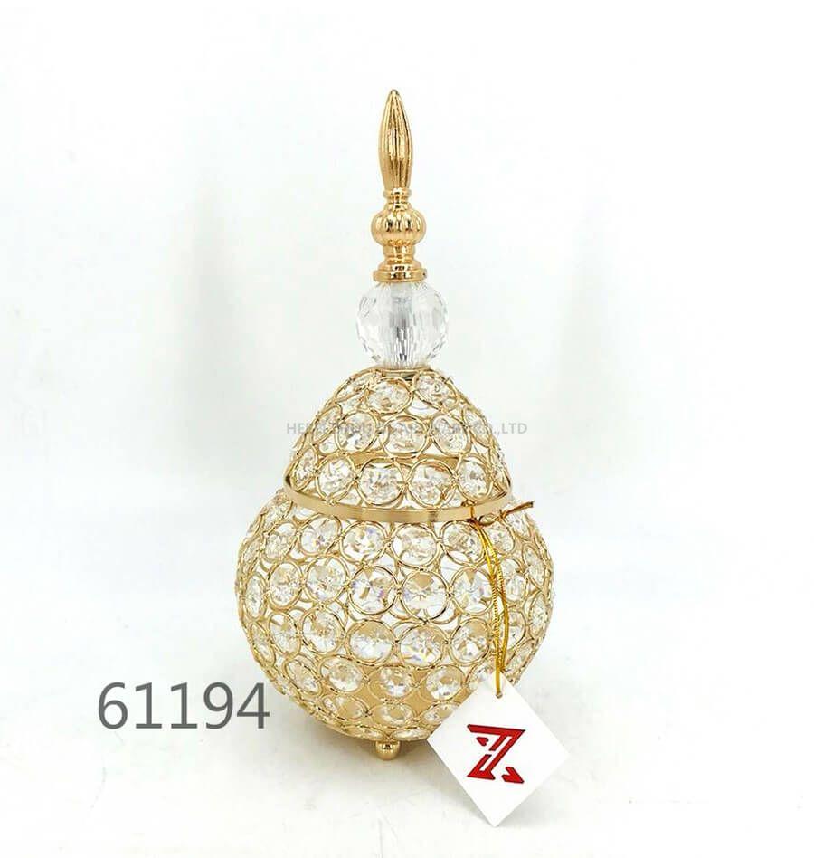 golden 61194 crystal metal candy pot