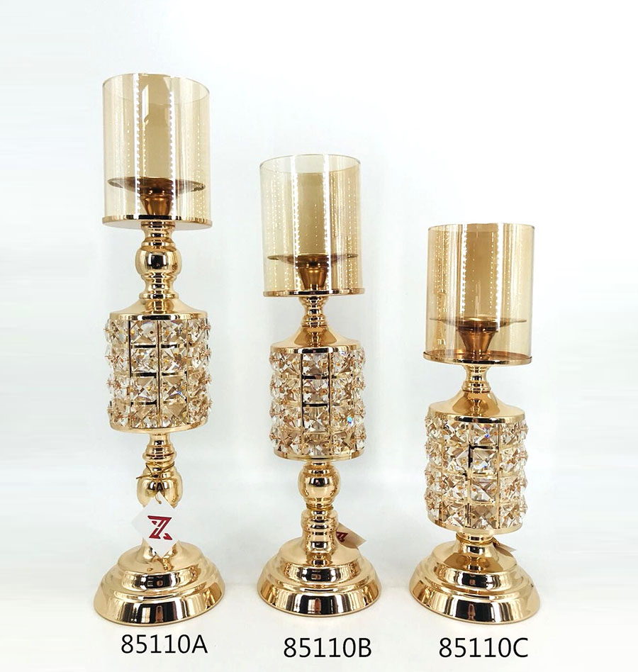 new design golden metal candle holder 85110