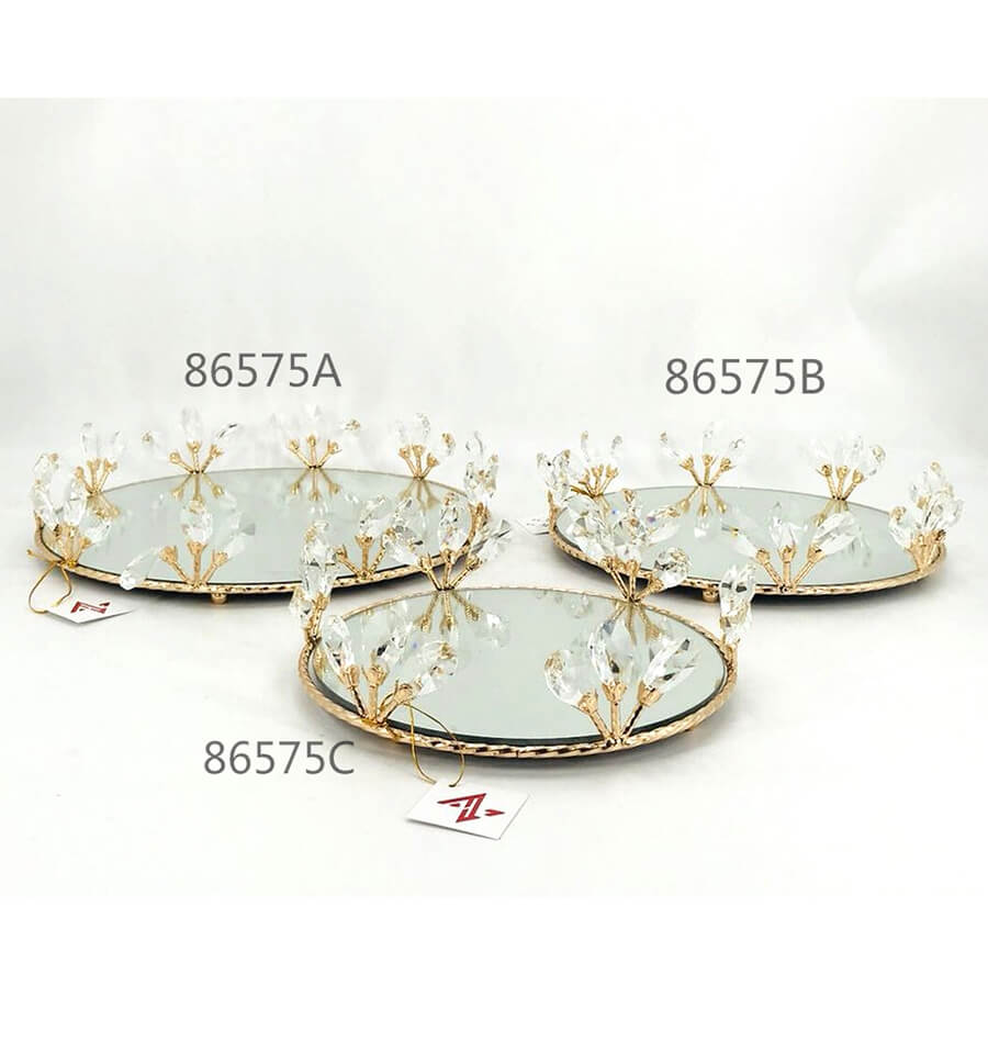 golden 86575A 86575B 86575C crystal metal tray