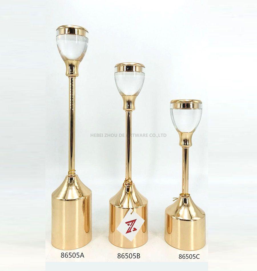 Factory Wholesale gold acrylic Candle Holder 86505