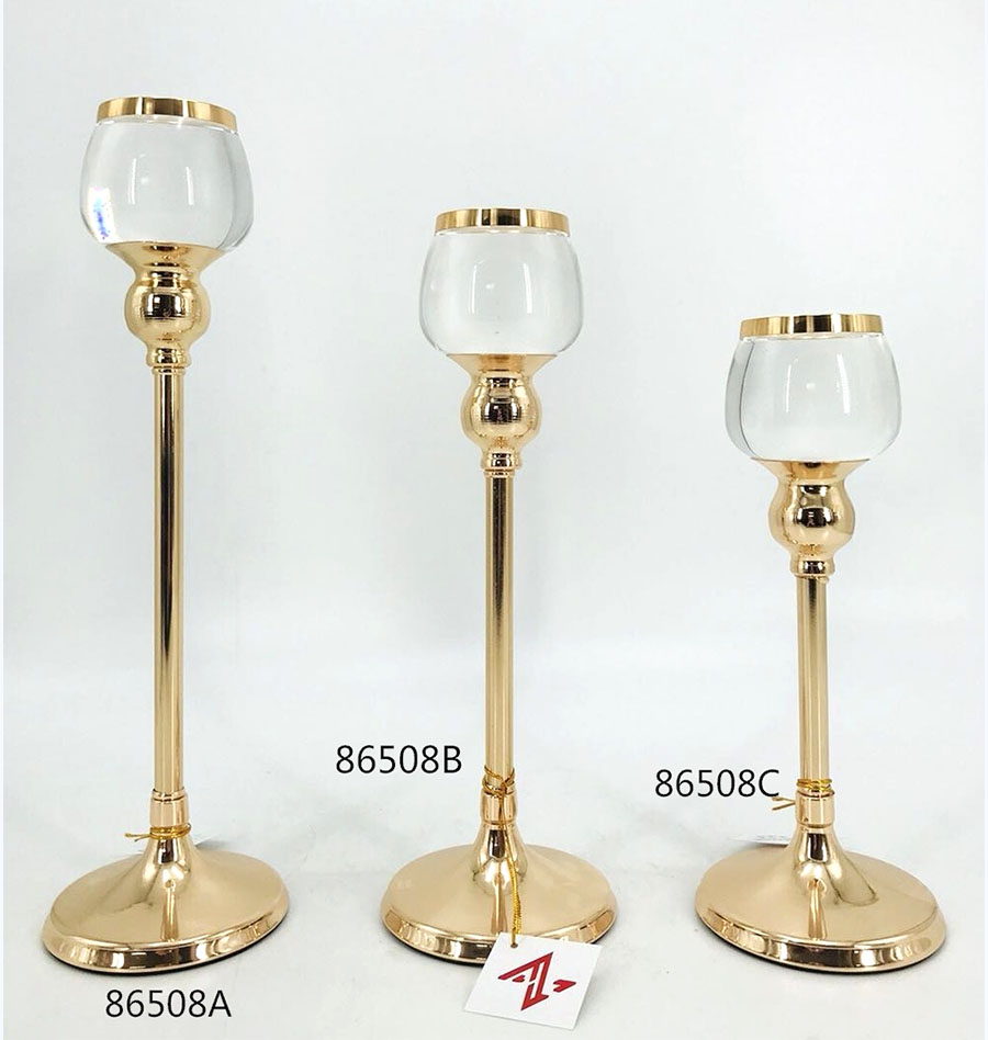 golden 86508A 86508B 86508C Metal Candle Holder