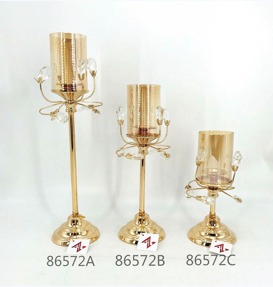 golden 86572A 86572B 86572C Metal Candle Holder