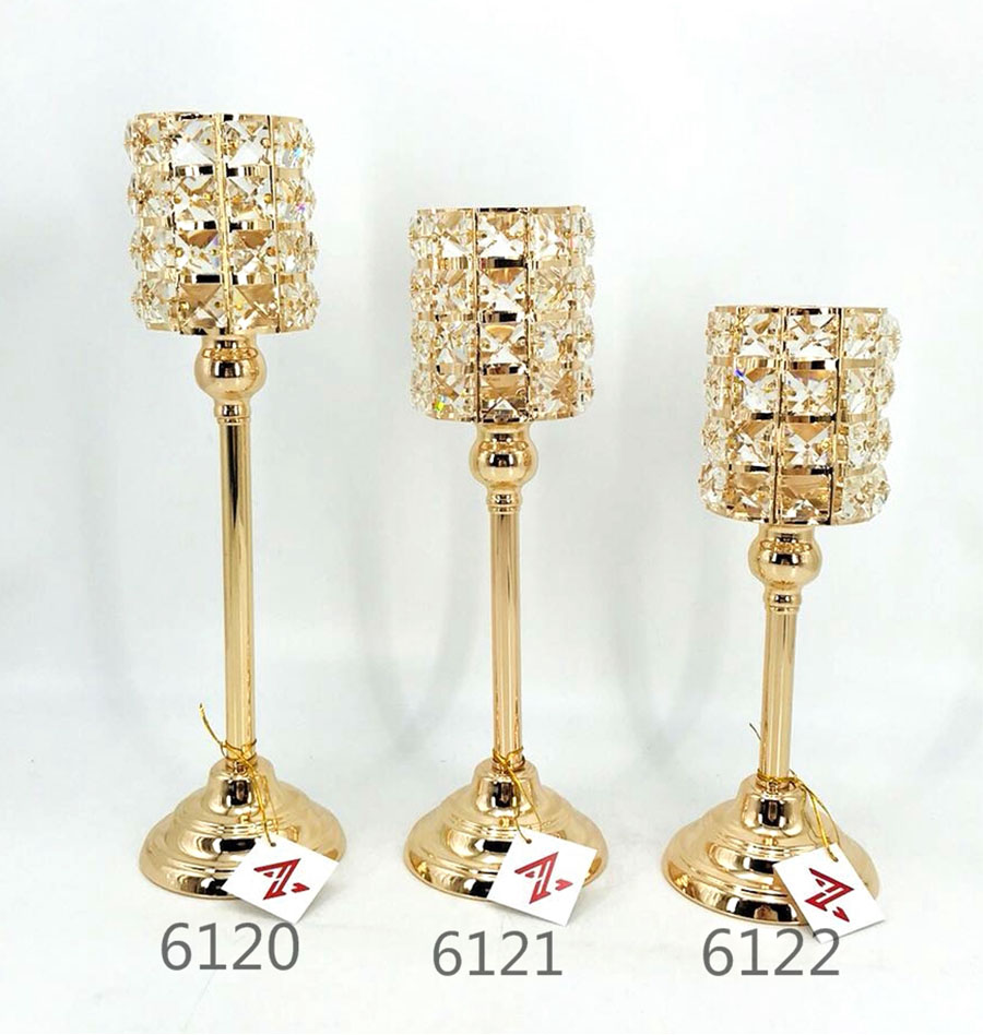 golden 6120 6121 6122 Crystal Candle Holder