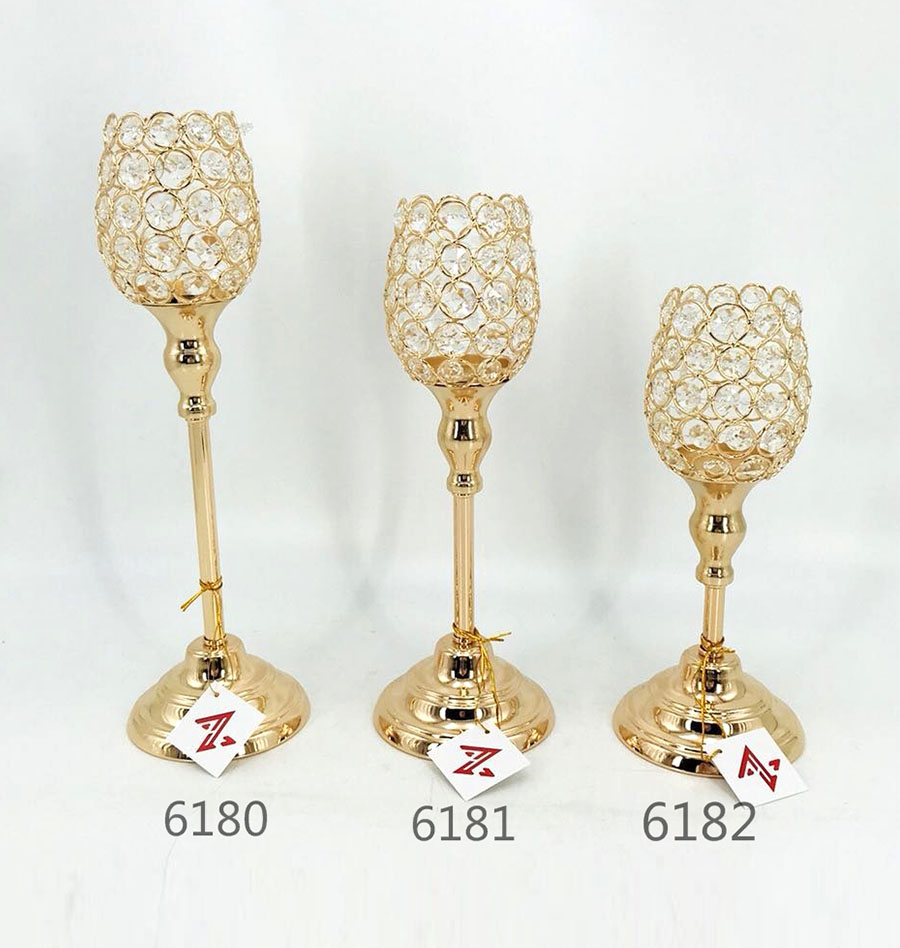 candle holder Metal Crystal Candelabra For Wedding Decoration 6180 6181 6182