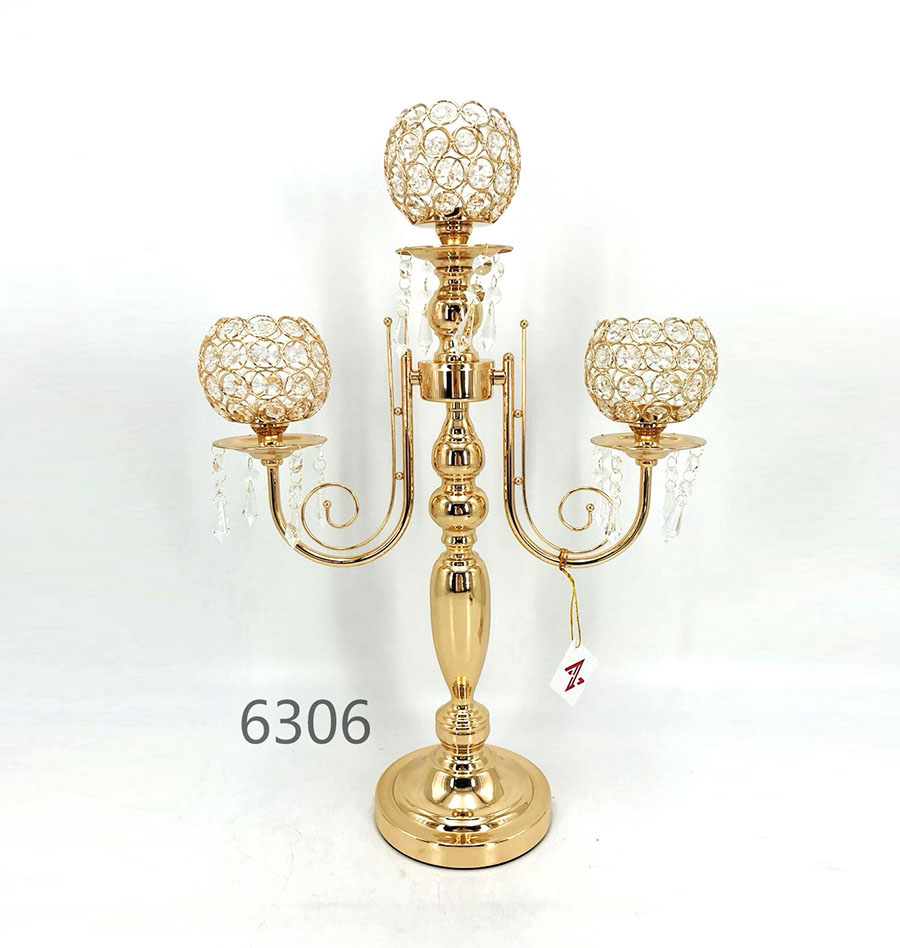 candle holders crystal and gold metal 6306