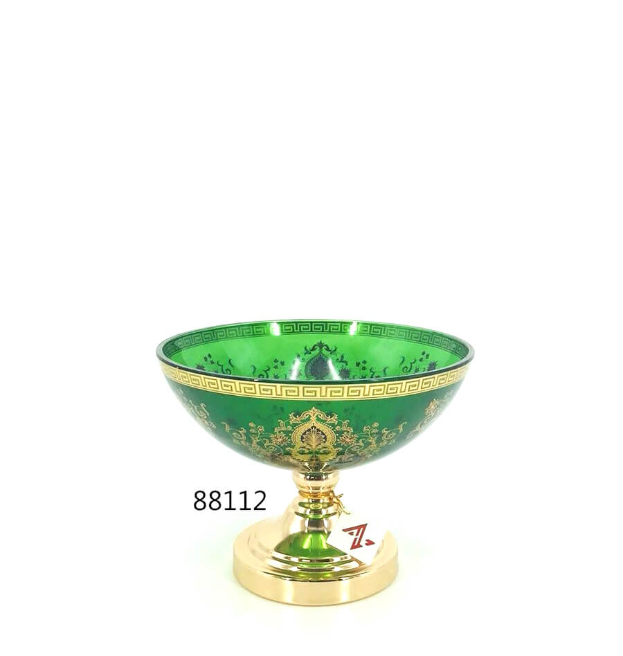 popular design green glass fruit bowl