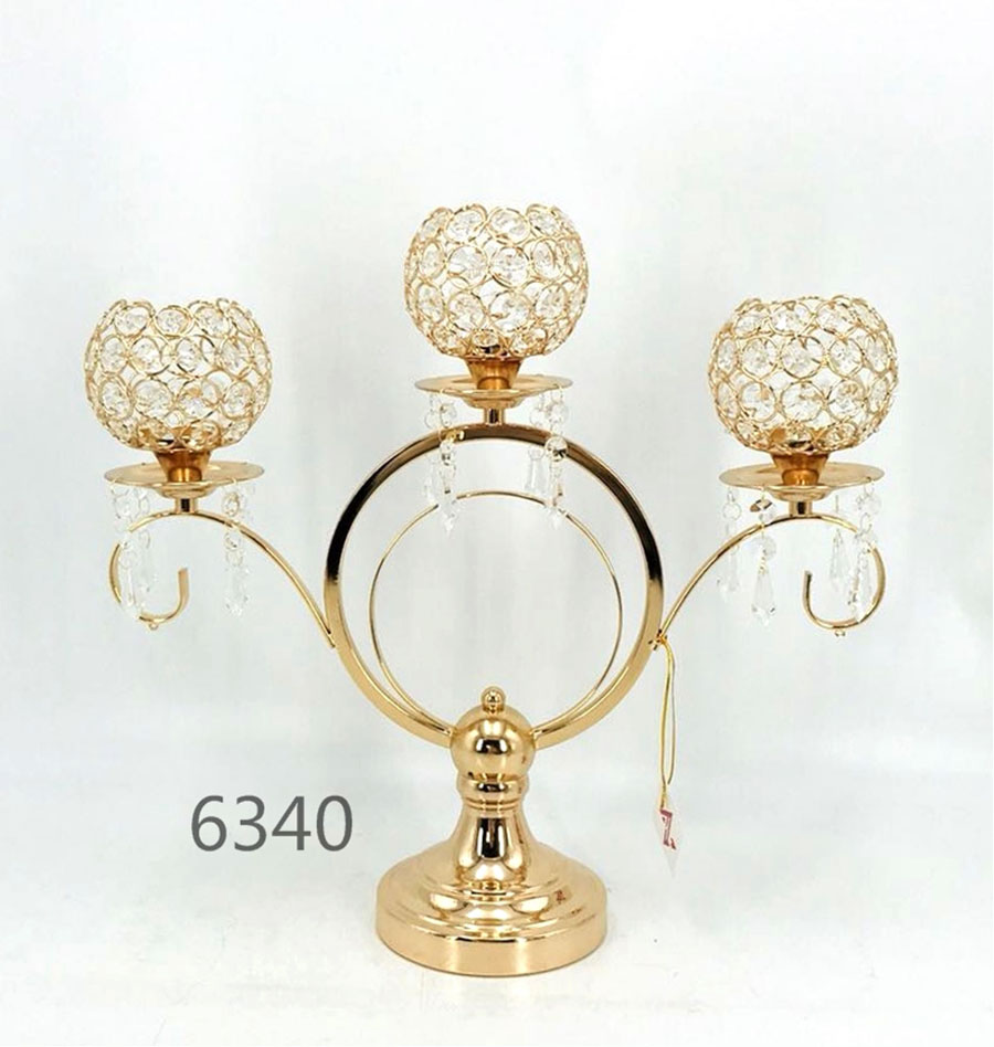 3 arm candelabra crystal candle stand 6340