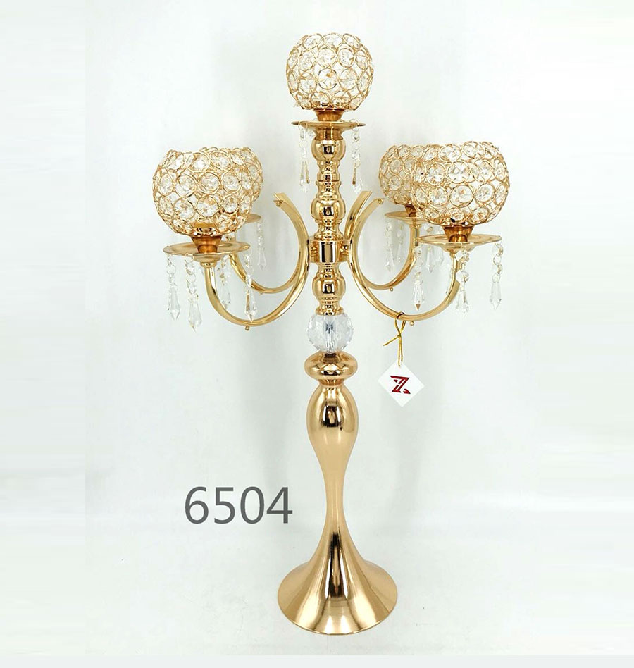5 arms crystal candelabra New Wedding candlestick 6504