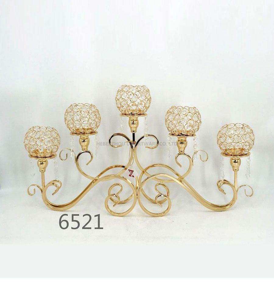 golden 6521 Crystal Candle Holder