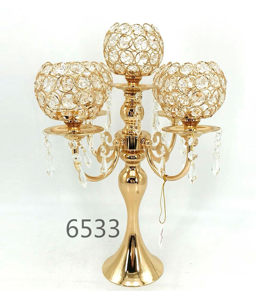 wedding metal and Crystal Candle Holder 6533