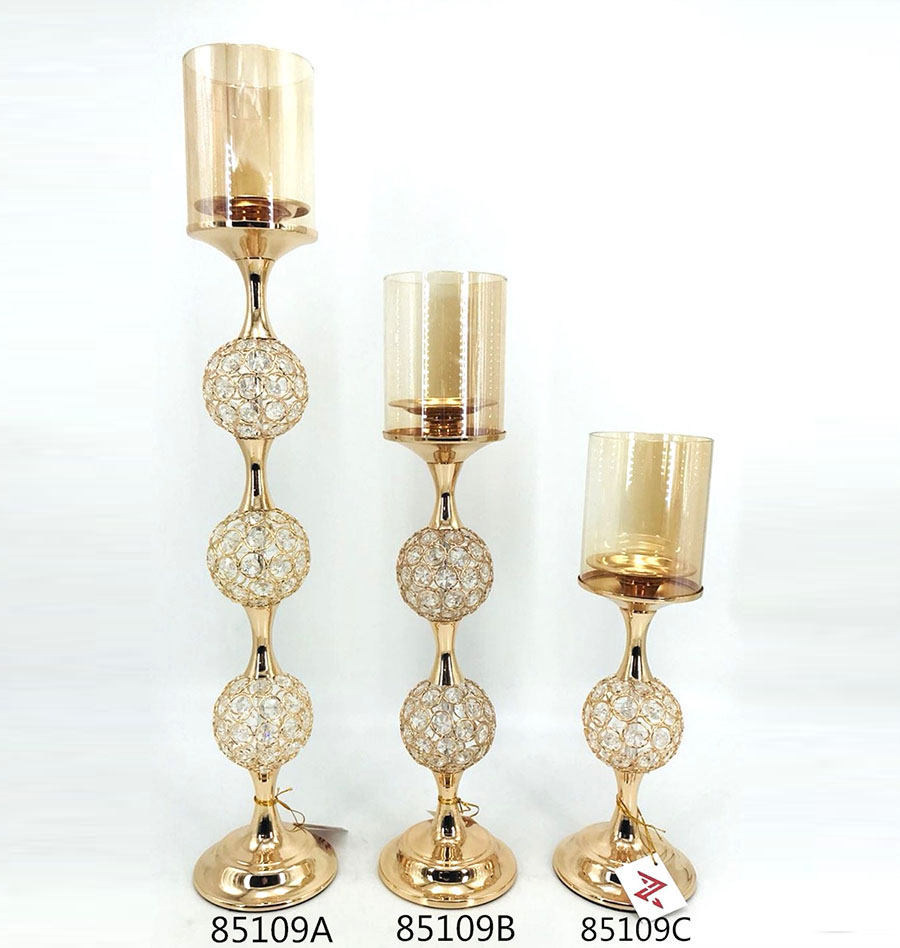 golden 85109A 85109B 85109C Crystal Candle Holder