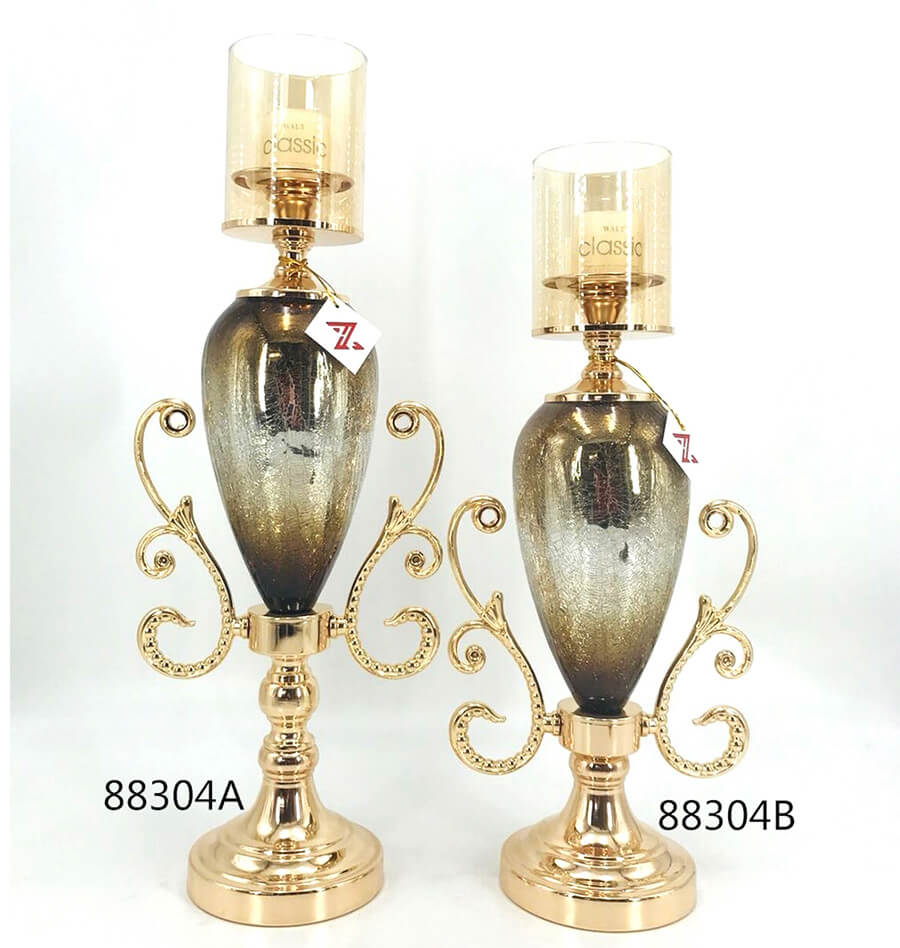 metal and glass candle holder 88304