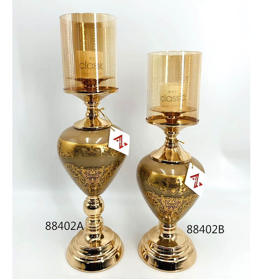 metal and glass candle holder 88402