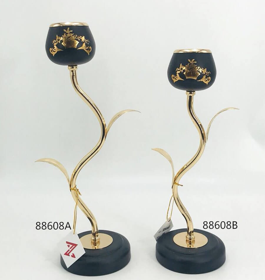 black and gold metal candle holder 88608