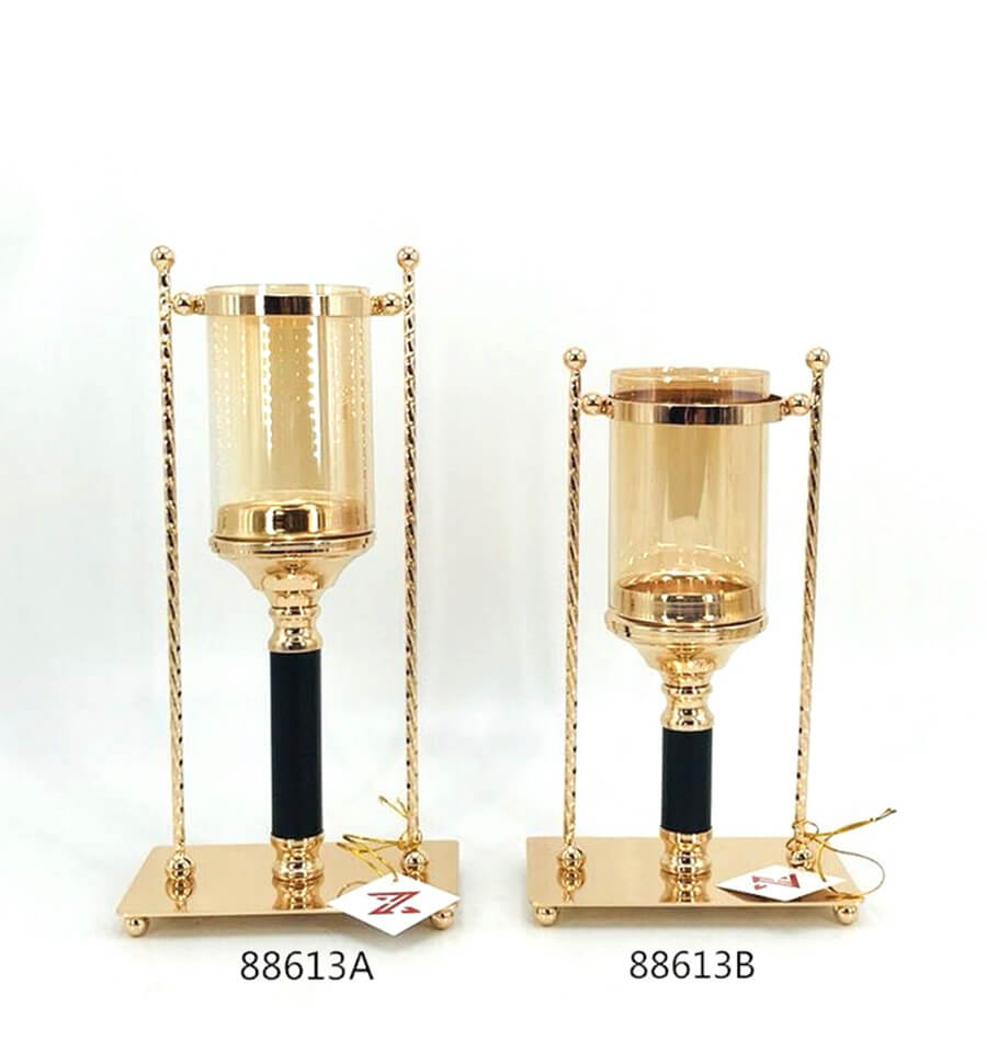 black and gold metal candle holder 88613