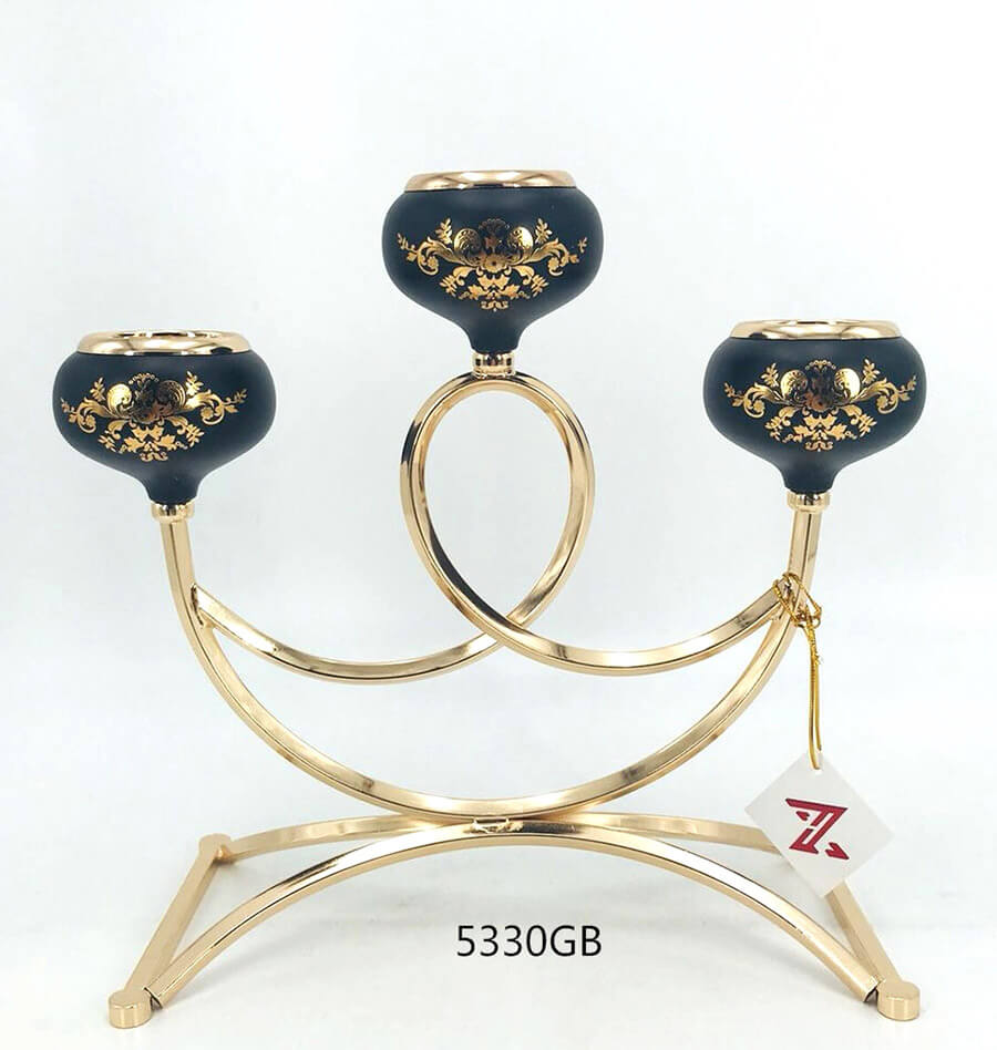 black golden 5330GB metal candle holder