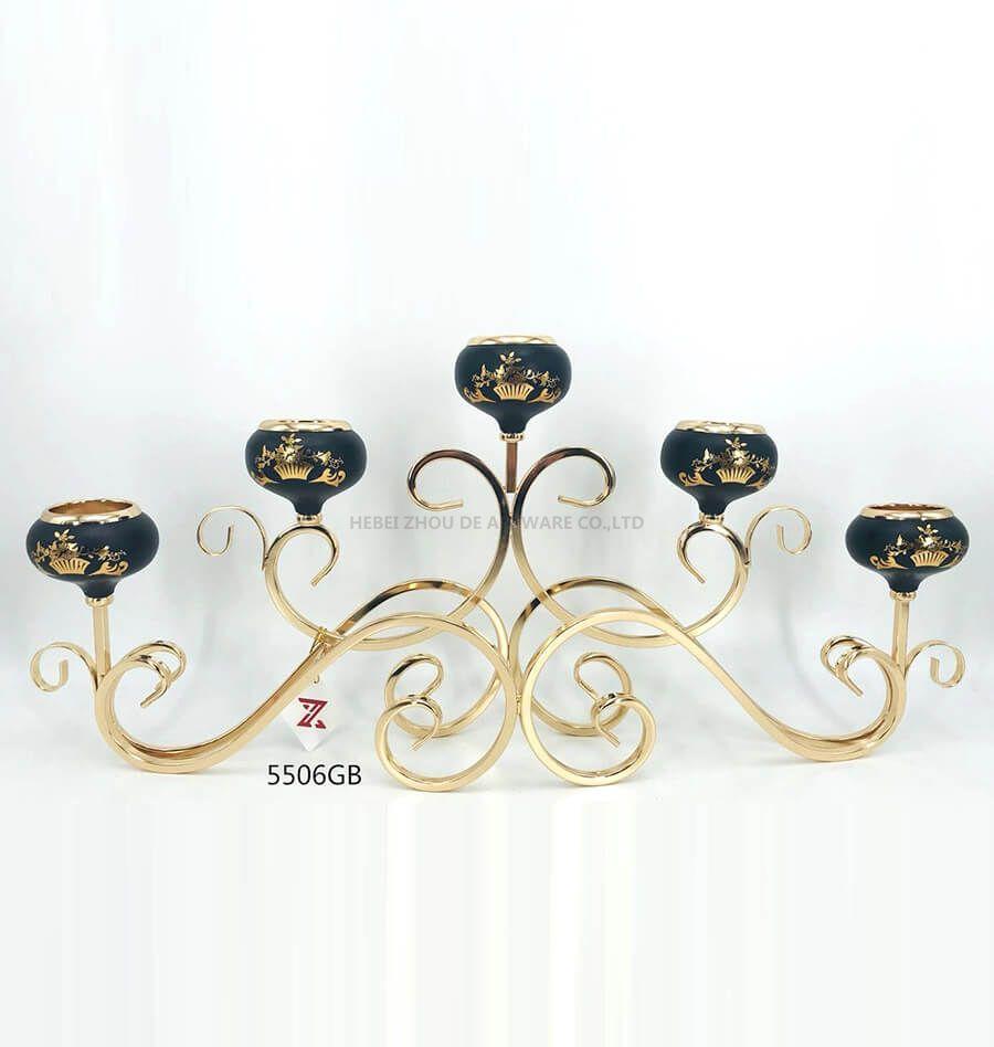 black golden 5506GB metal candle holder