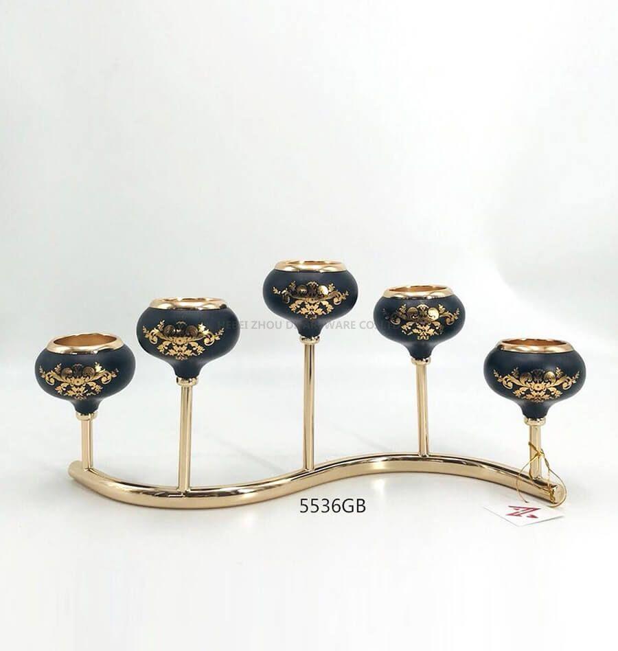 black golden 5536GB metal candle holder