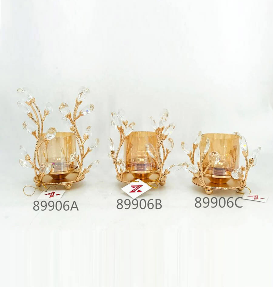 golden 89906A 89906B 89906C metal crystal candle holder