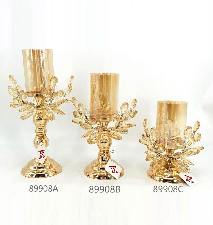 golden 89908A 89908B 89908C metal crystal candle holder