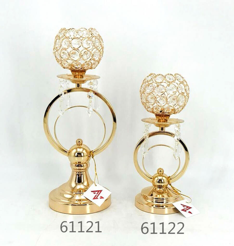 golden plated metal crystal candle holder 61121 61122