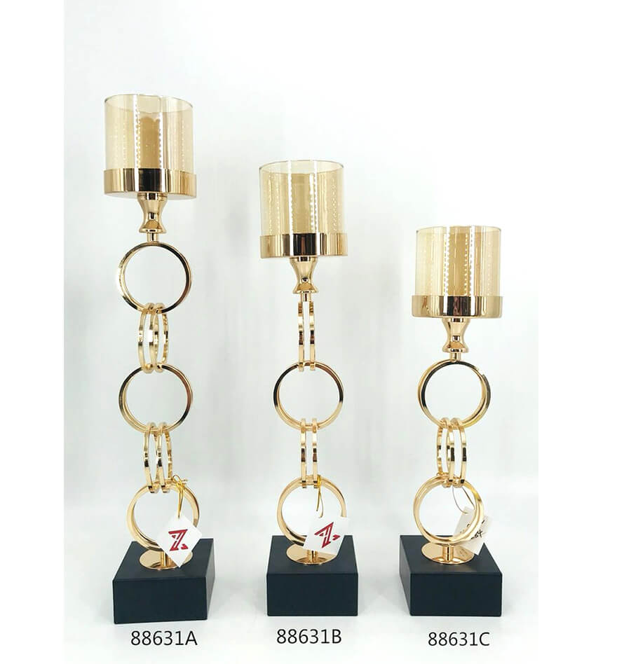 88631 gold metal candle holder