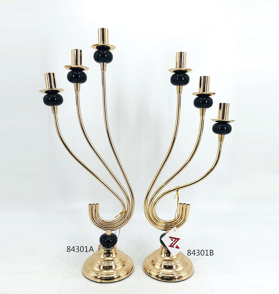 Iron Candle Holder Gold and Black Color 84301A 84301B