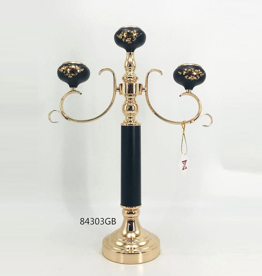 Iron Candle Holder Gold and Black Color 84303GB
