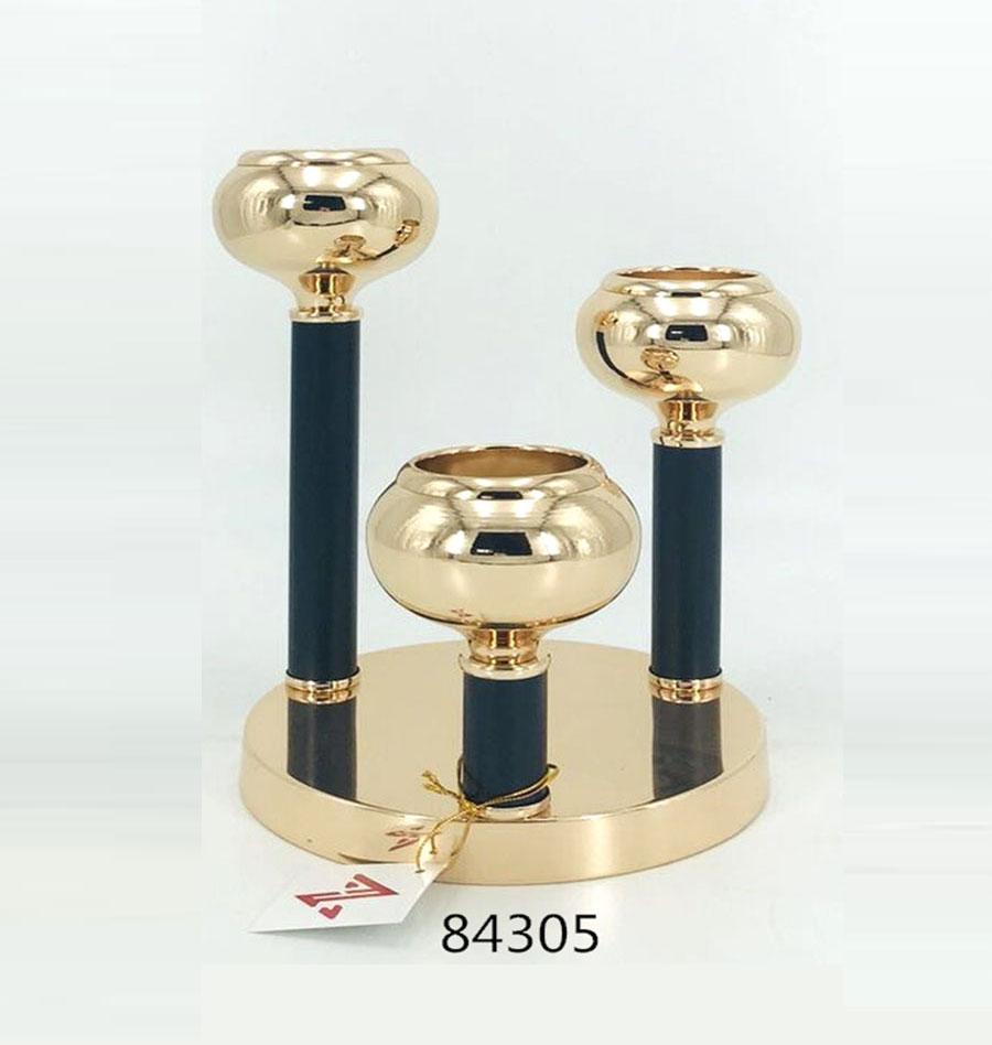 Iron Candle Holder Gold and Black Color 84305