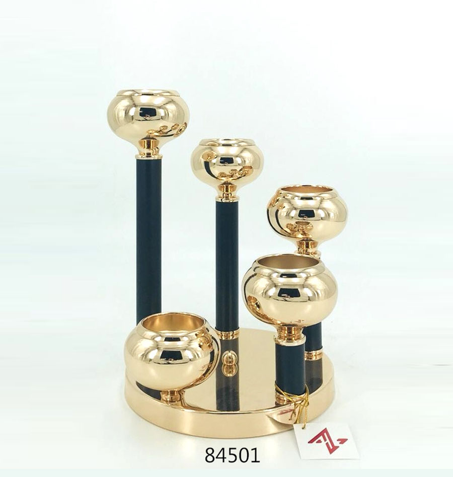 Iron Candle Holder Gold and Black Color 84501