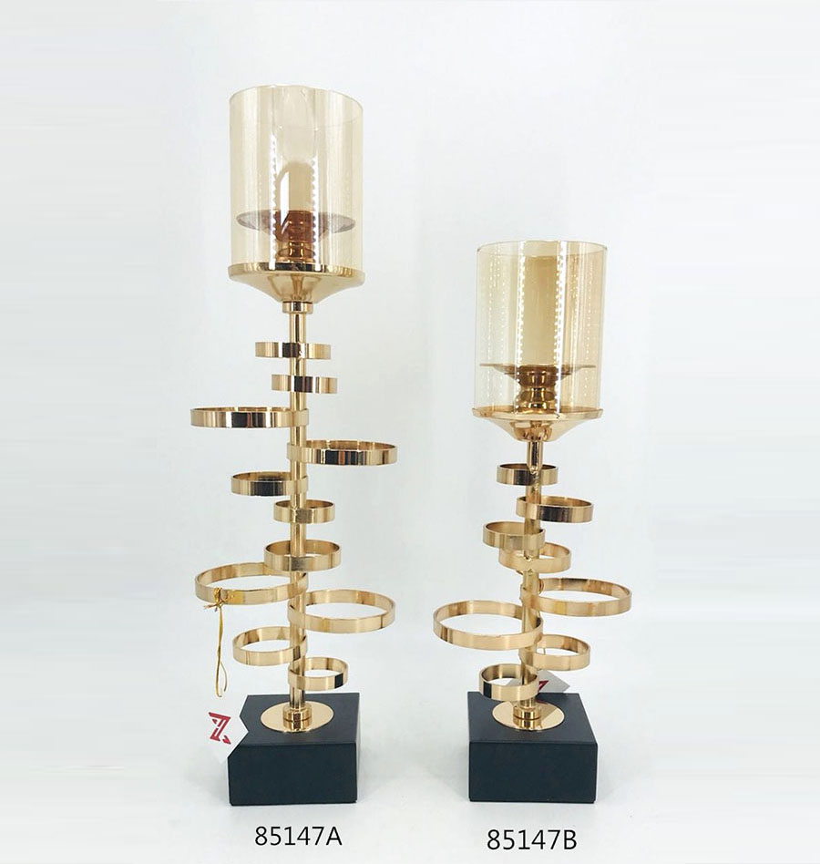 Iron Candle Holder Gold and Black Color 85147A 85147B