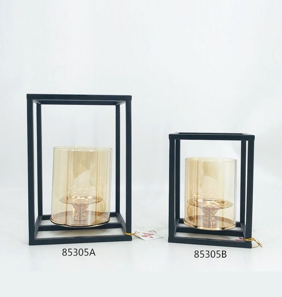 Iron Candle Holder Gold and Black Color 85305A 85305B
