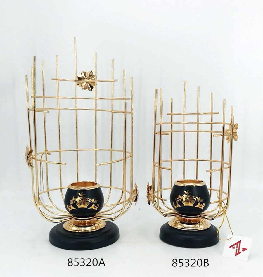 Iron Candle Holder Gold and Black Color 85320GA 85320GB