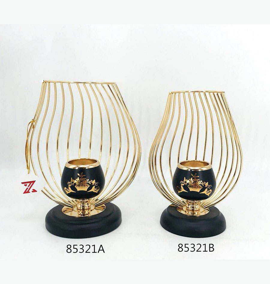 Iron Candle Holder Gold and Black Color 85321GA 85321GB