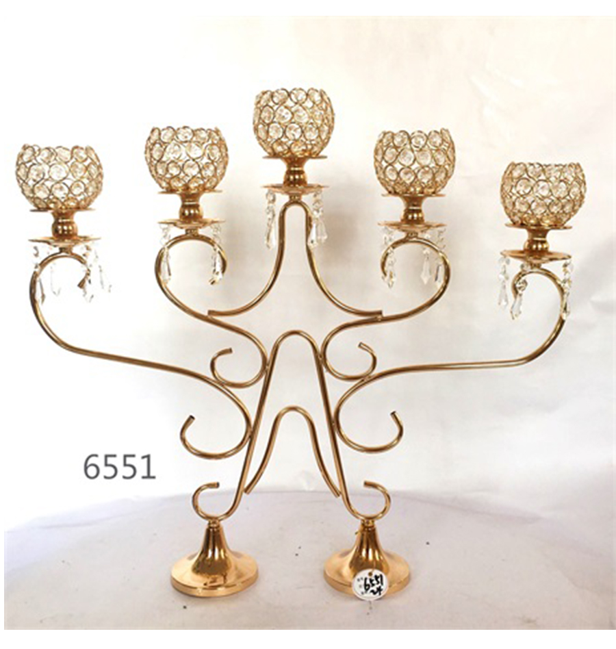 golden 6551 metal crystal candle holder