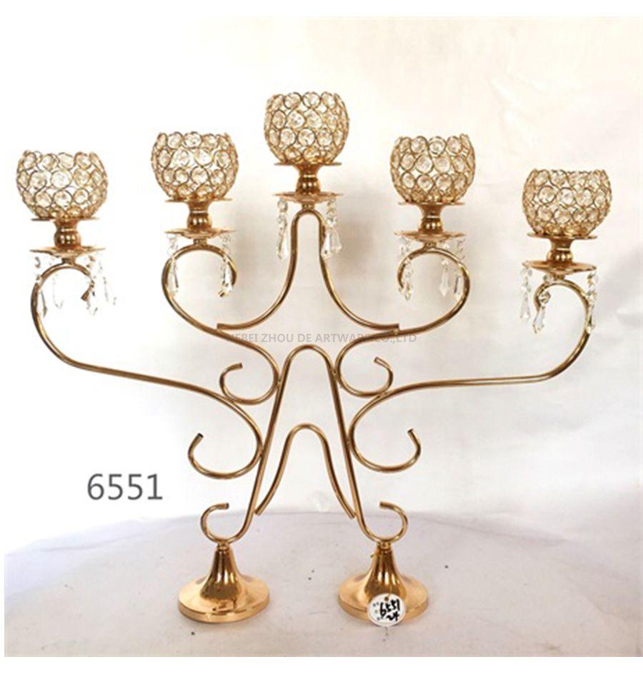 golden 6551 metal crystal candle holder