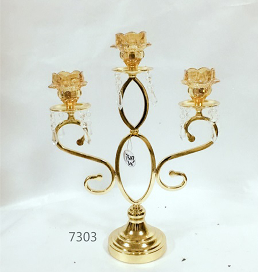 golden 7303 metal crystal candle holder