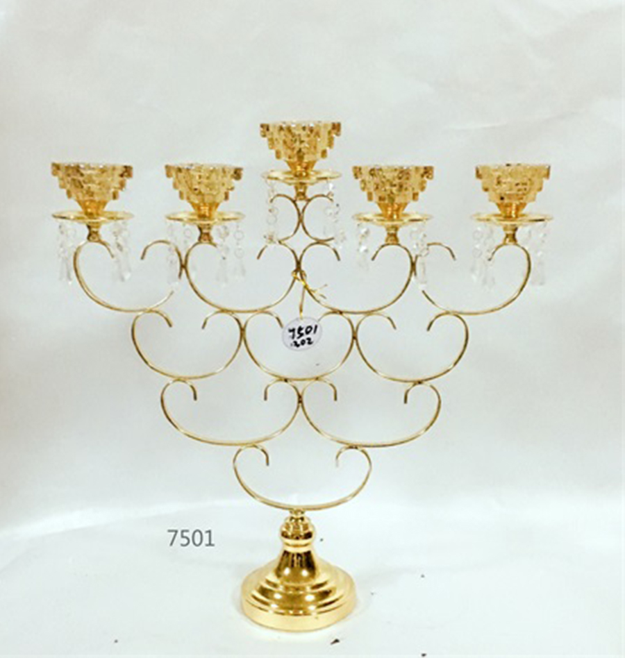 golden 7501 metal crystal candle holder