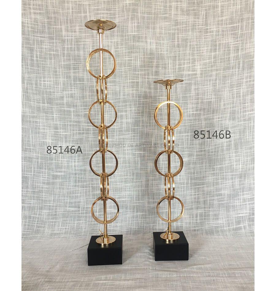 black golden 85146A 85146B metal candle holder