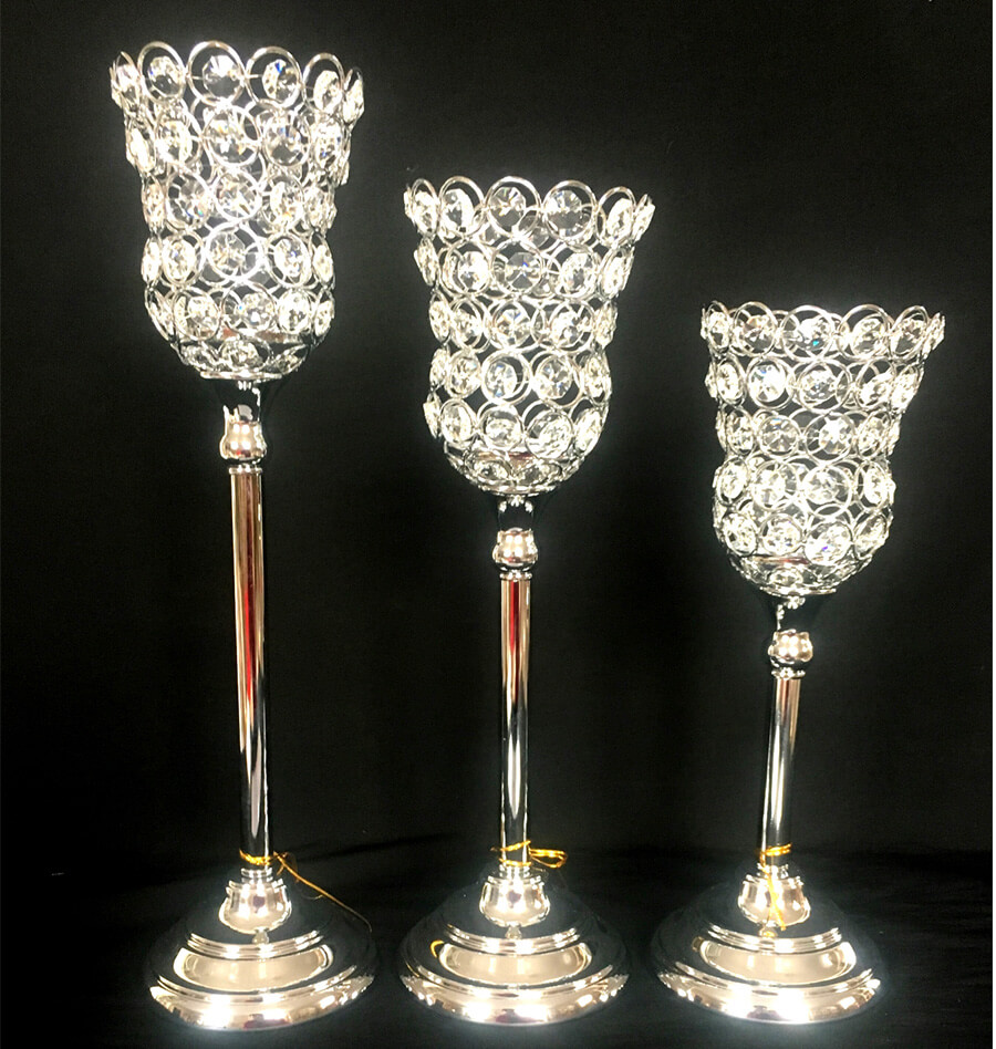 CRYSTAL CHROME METAL CANDLE HOLDER 5176