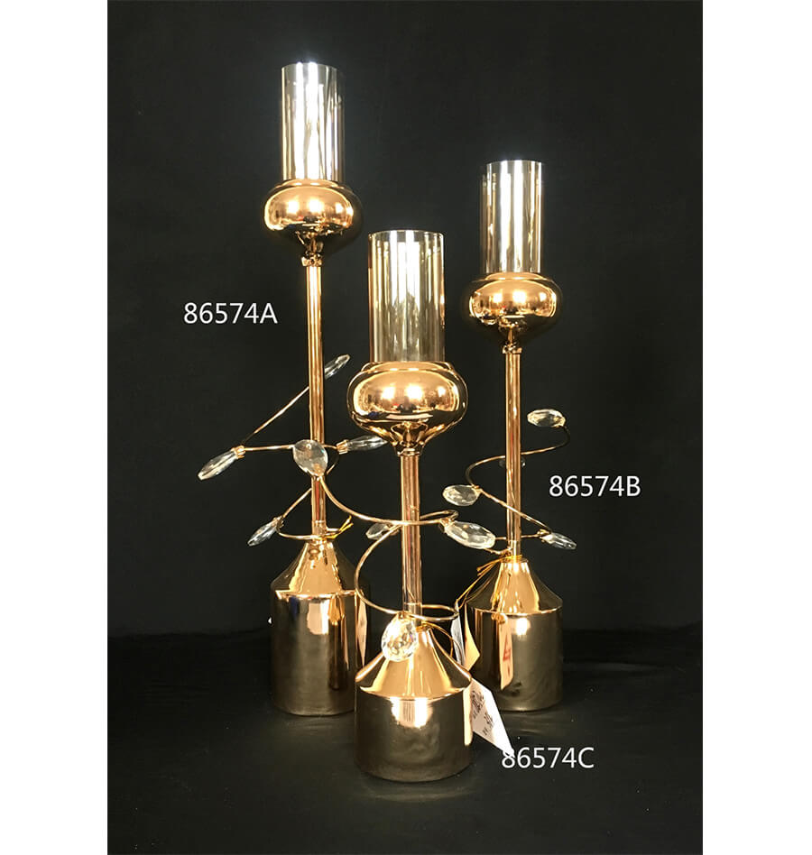 CRYSTAL METAL CANDLE HOLDER 86574