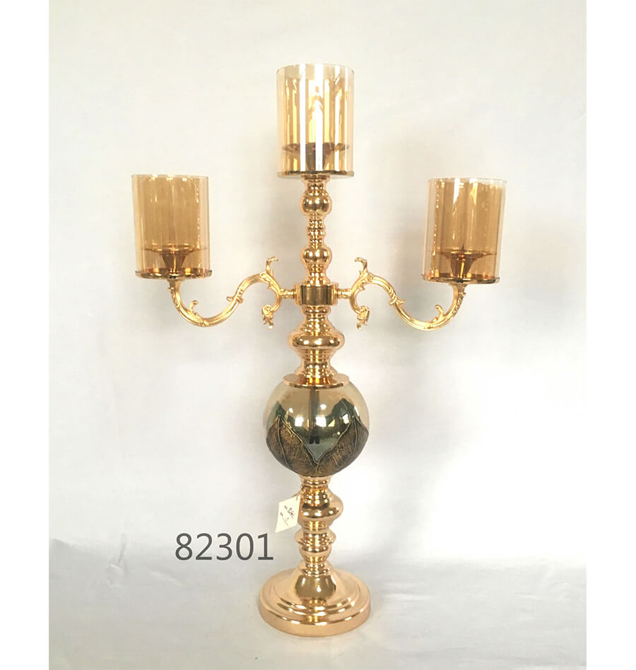 new design glass 3 arms candle holder for home decoration